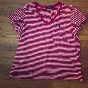 NWOT Polo RL Red Striped V Neck T-Shirt M